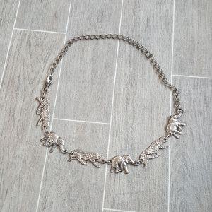 Vintage Cheetah & Elephant Metal Link belt